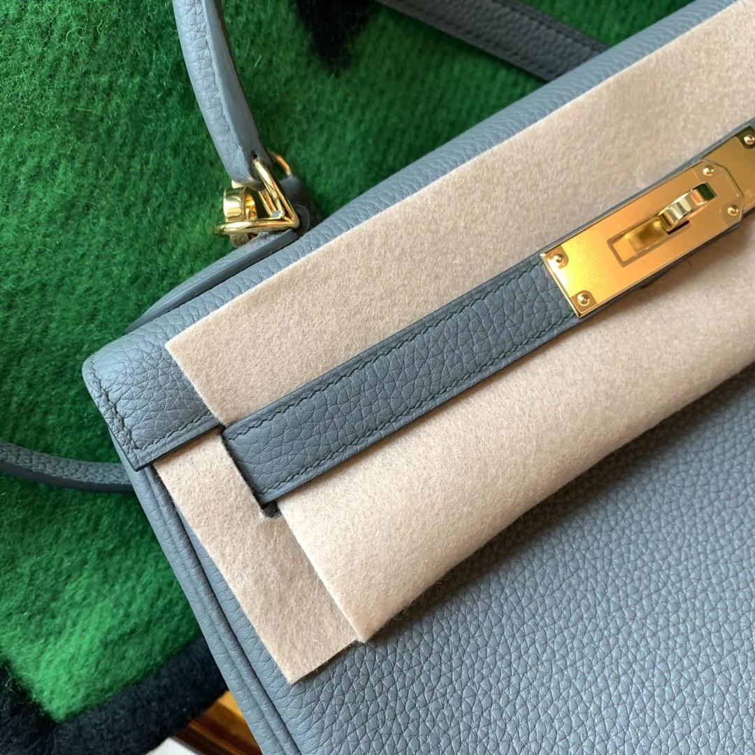 Hermès(爱马仕)Kelly 凯莉包 25cm 杏绿色 63 Vert Amande 原厂Togo皮 金扣