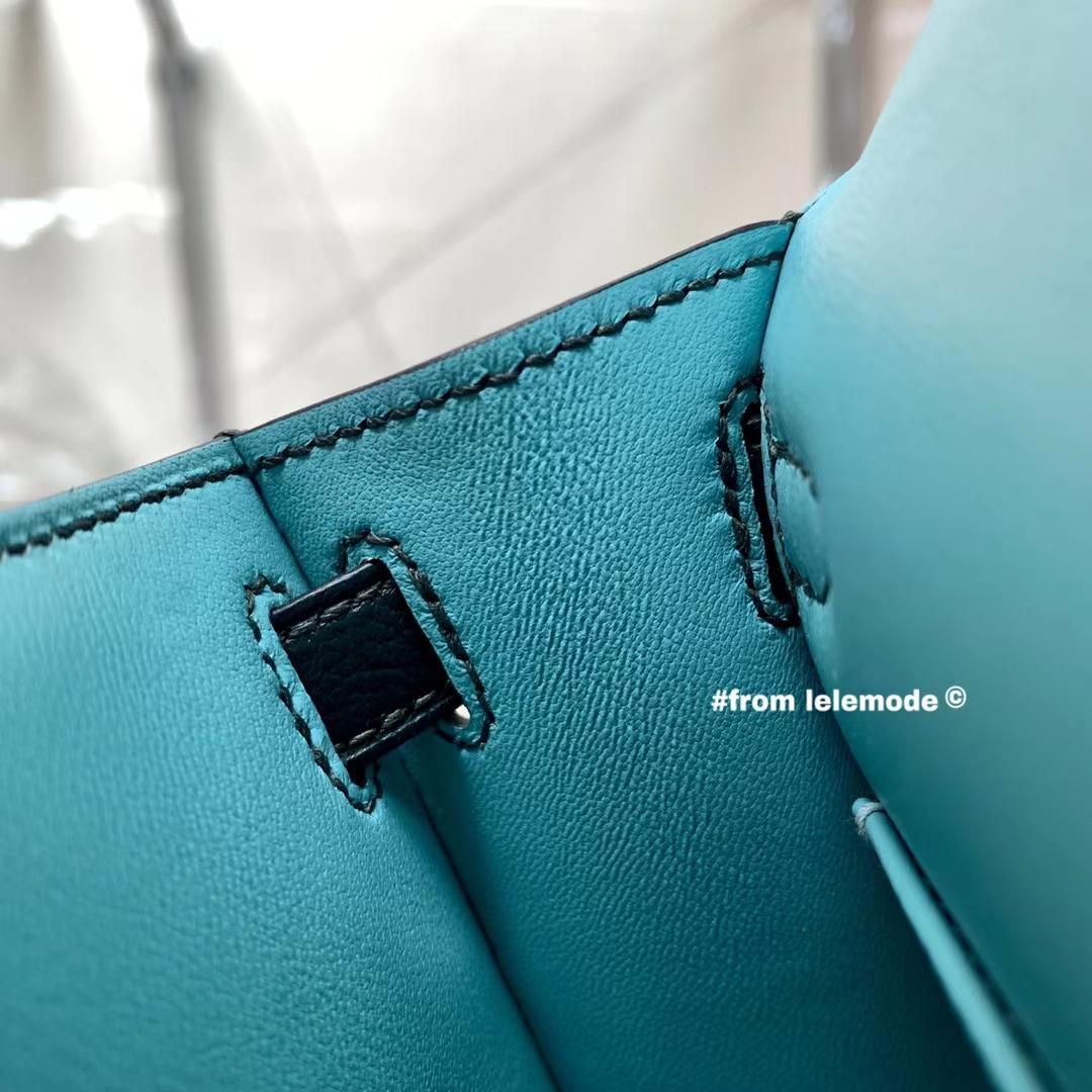 Hermès(爱马仕)Minikelly 迷你凯莉 二代 1T提香绿 内拼 3P马卡龙蓝 山羊皮 全手缝