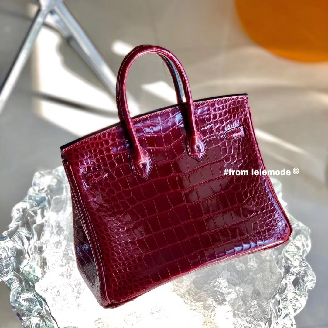 Hermès(爱马仕)铂金包 BK 25cm CK57 波尔多酒红 亮面美洲鳄鱼皮 方块级别 金扣