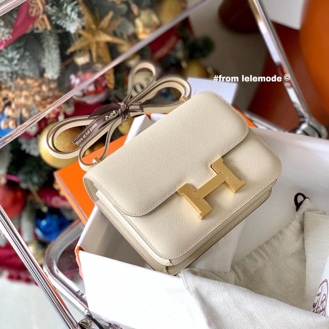 Hermès(爱马仕)Constance 康斯坦斯 小康 18cm 奶昔白 CC10 金扣 Epsom皮