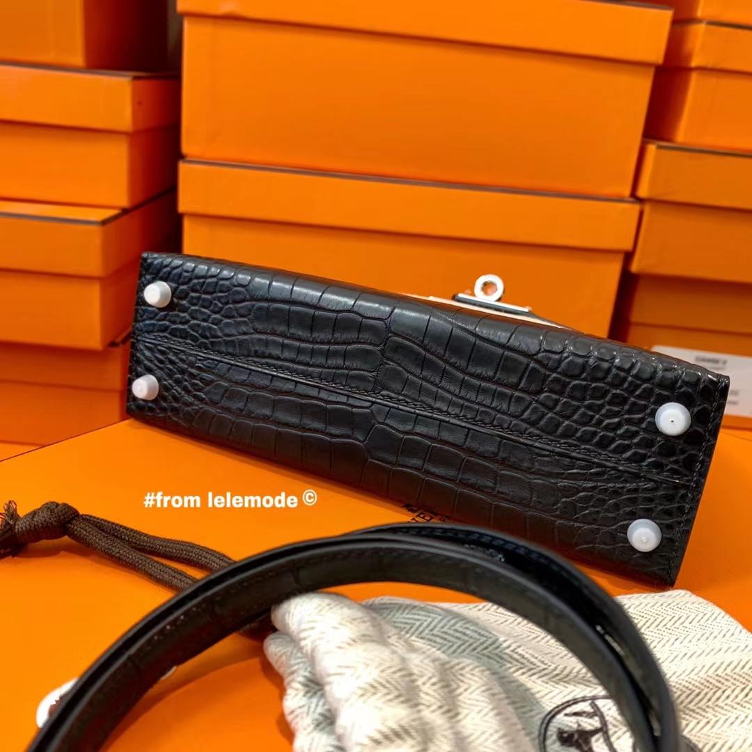 Hermès(爱马仕)Minikelly 迷你凯莉 二代 Nior 89黑色 原厂美洲鳄鱼 方块级别 雾面 银扣