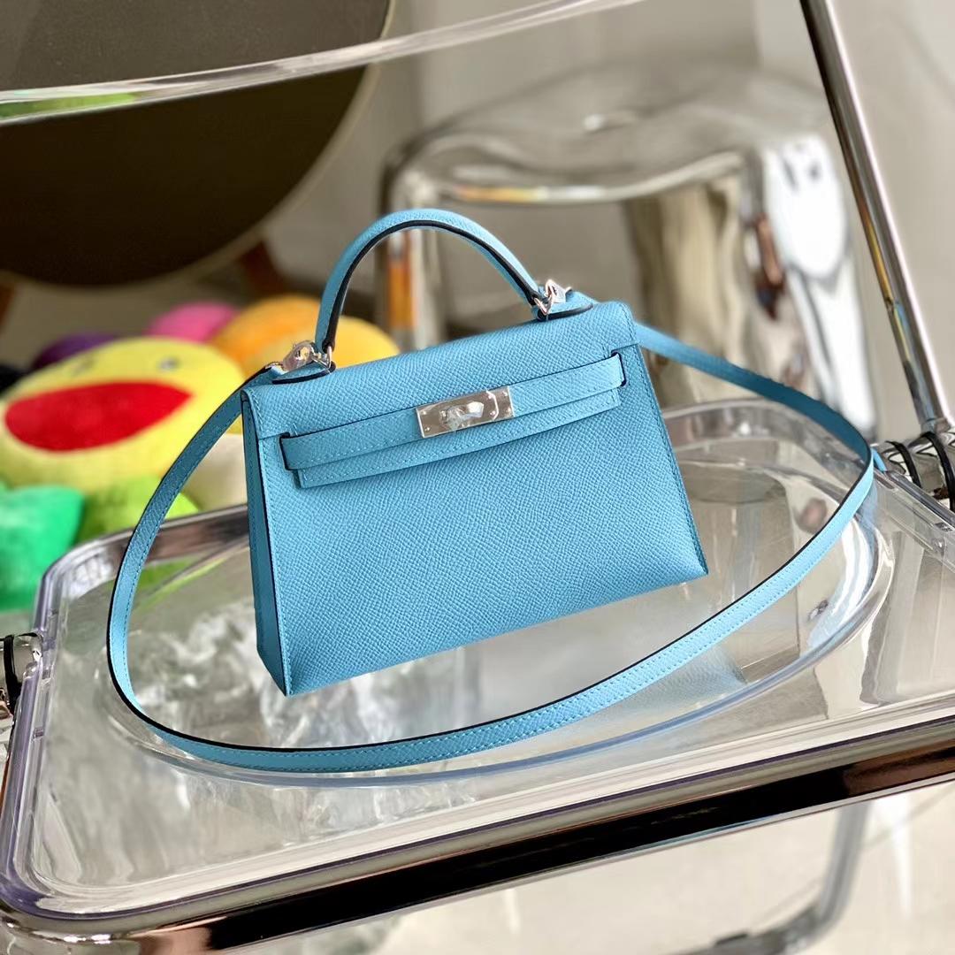 Hermès(爱马仕)迷你凯莉 Minikelly 二代 P3 北方蓝 Epsom皮 银扣 全手缝