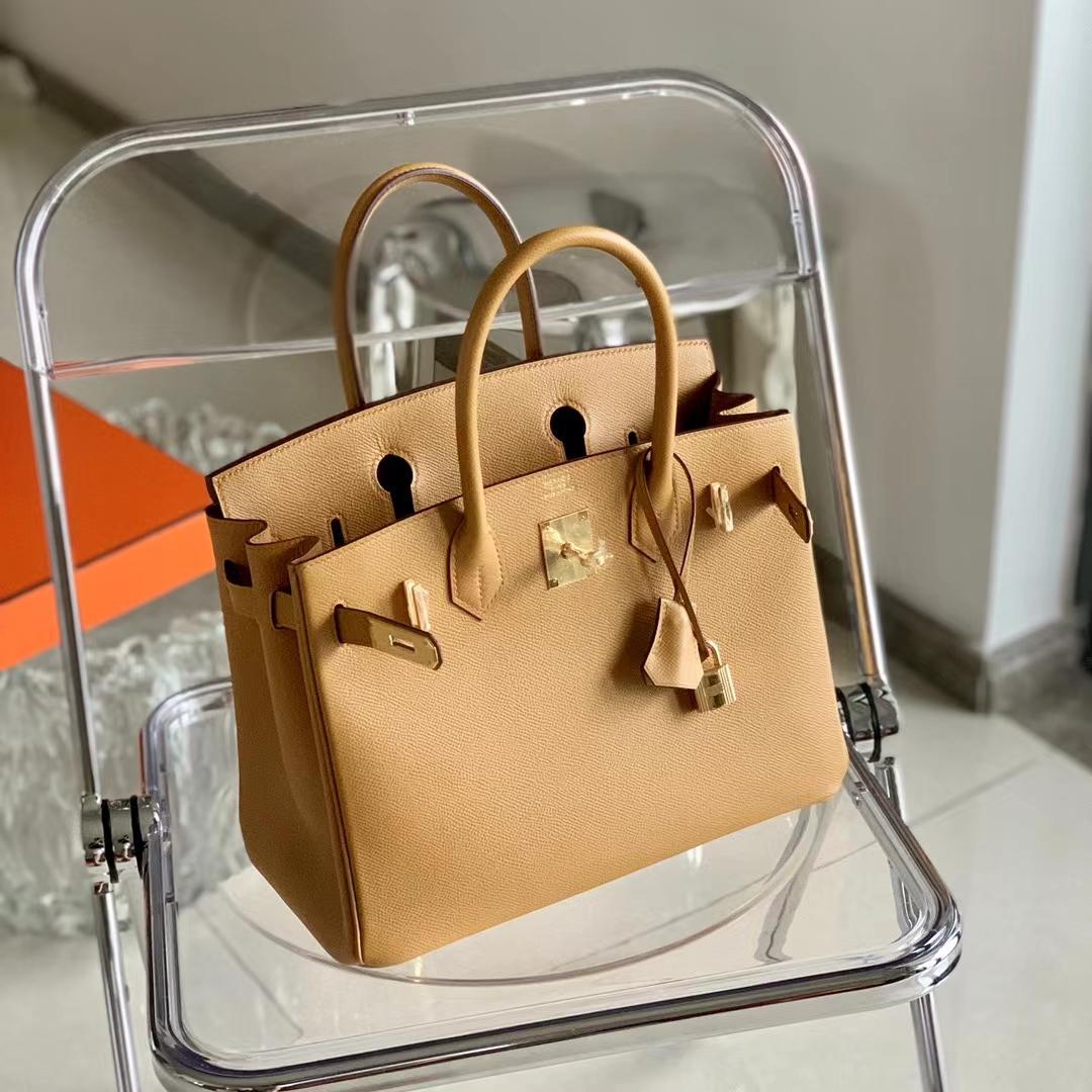 Hermès(爱马仕)Birkin 铂金包 芝麻色 色号2S 金扣 原厂Epsom皮 30cm 全手缝