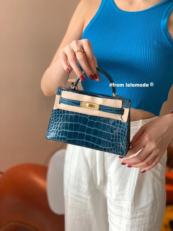 Hermès(爱马仕)Minikelly 迷你凯莉包 19cm 二代 鸭子蓝 1P 原厂美洲鳄鱼 方块级别 金扣