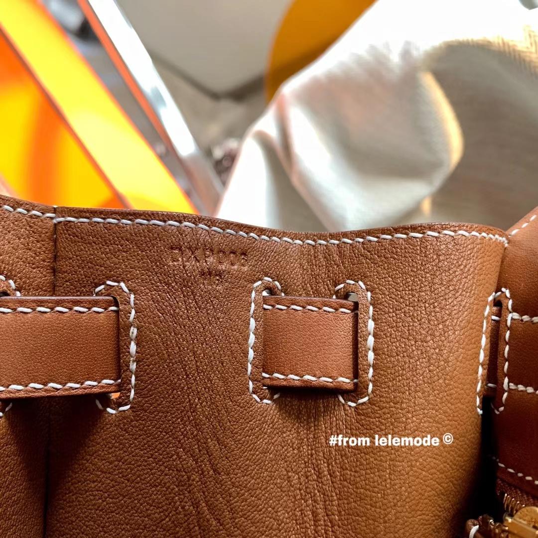 Hermès(爱马仕)Kelly 凯莉包 28cm Barenia natural 马鞍皮 34 Fauve 棕色
