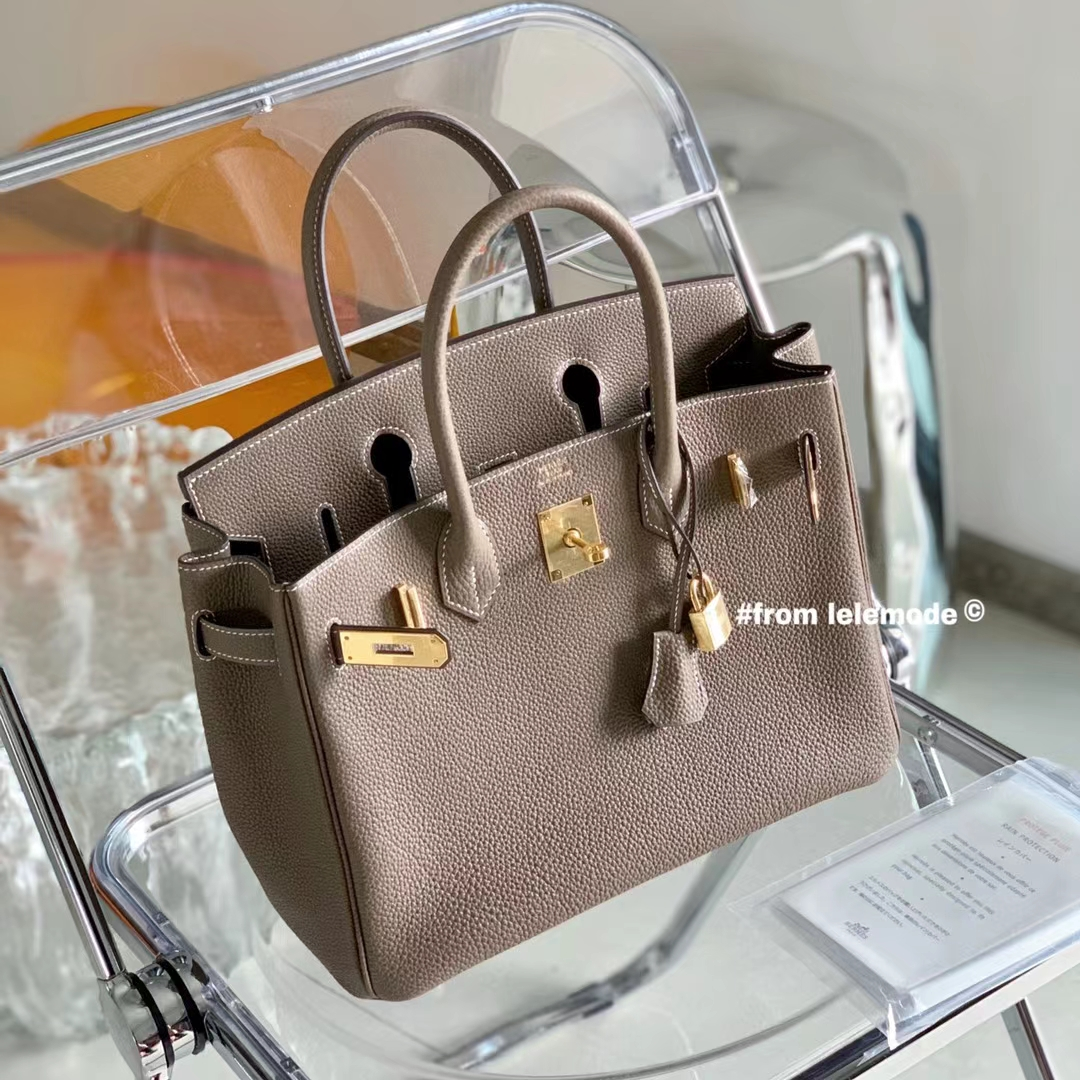 Hermès(爱马仕)Birkin 铂金包 大象灰 ck18 全手缝 原厂Togo皮 30cm
