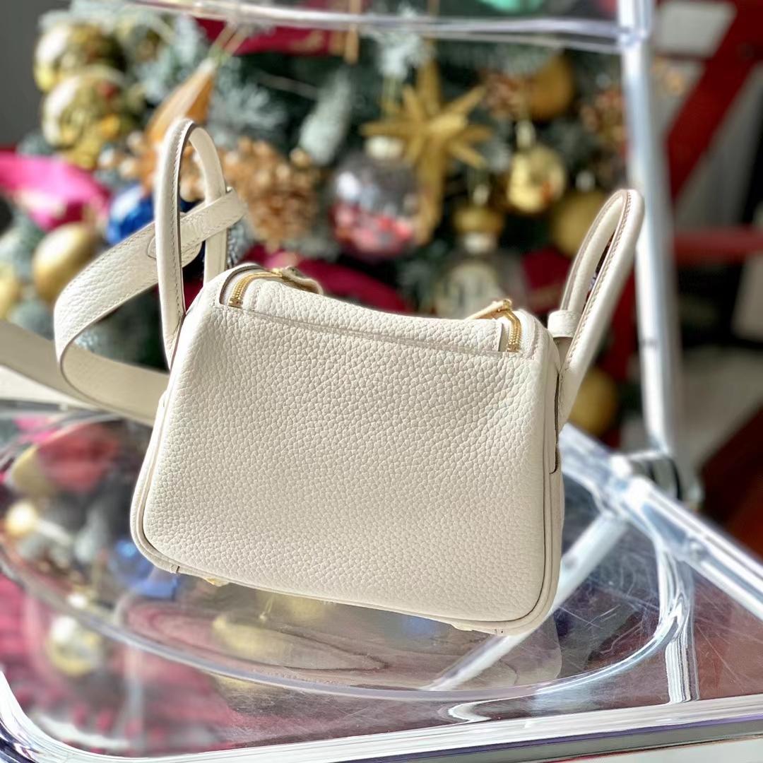 Hermès(爱马仕)Minilindy 迷你琳迪包 奶昔白 原厂TC 全手缝 金扣