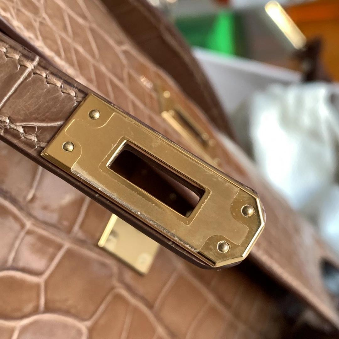 Hermès(爱马仕)Minikelly 迷你凯莉包 烟草灰色 8D 方块级别 金扣