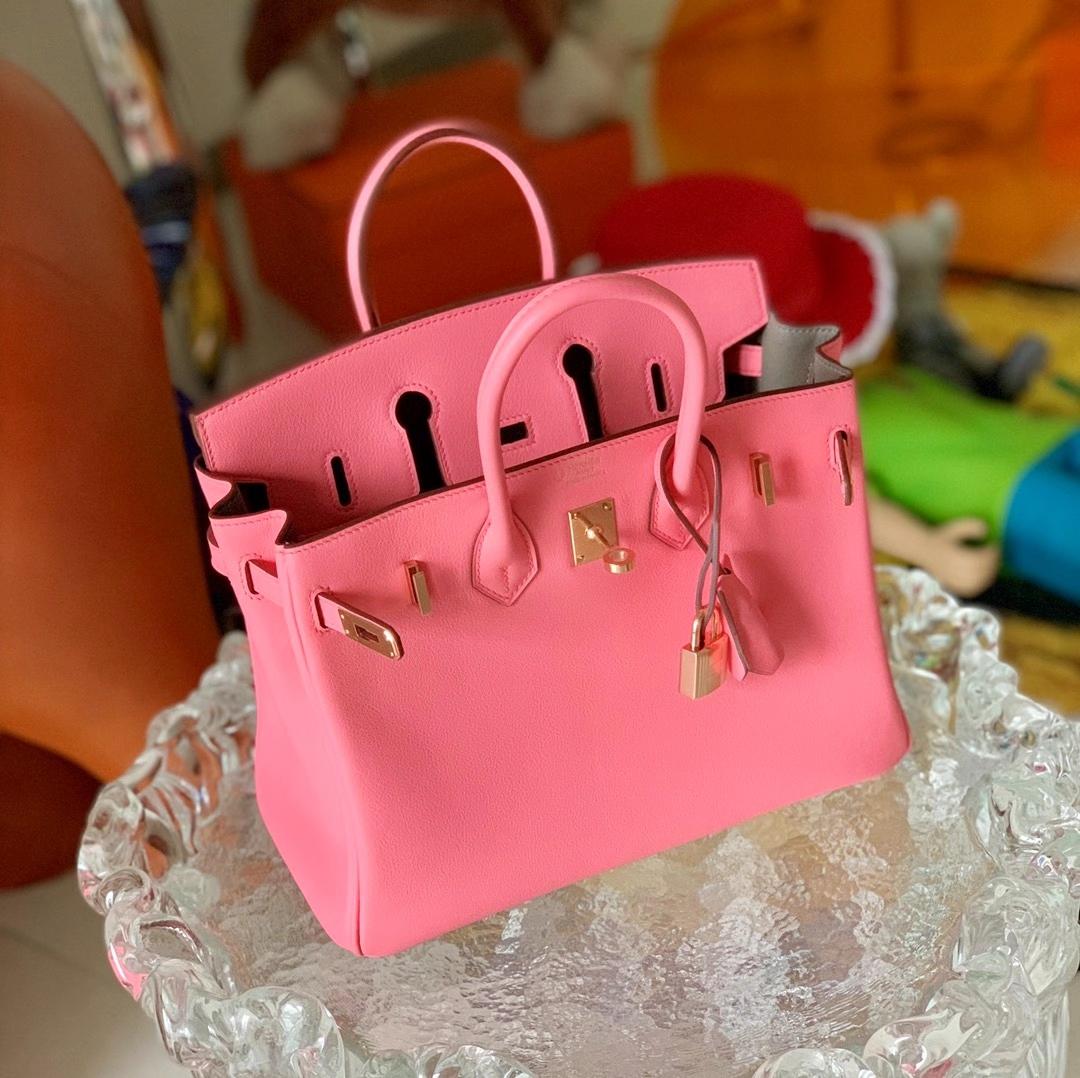 Hermès(爱马仕)Birkin 铂金包 原厂Swift皮 新色 4K 夏日玫瑰粉 玫瑰金扣 内拼瓷器灰 25cm