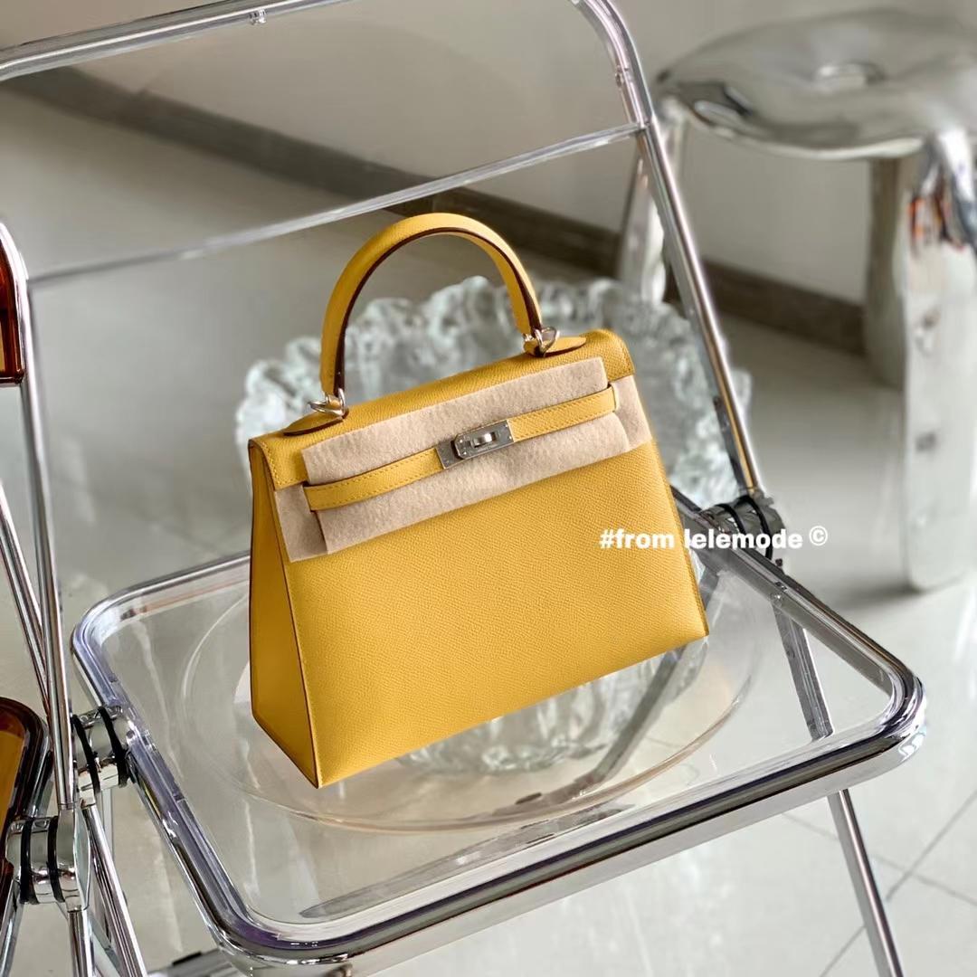 Hermès(爱马仕)KELLY 凯莉包 全手缝 琥珀黄 色号9D 银扣 原厂Epsom皮 25cm