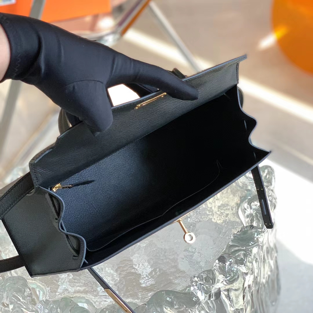 Hermès(爱马仕)Kelly 凯莉包 黑色 Nior 金扣 原厂Epsom皮 28cm 全手缝