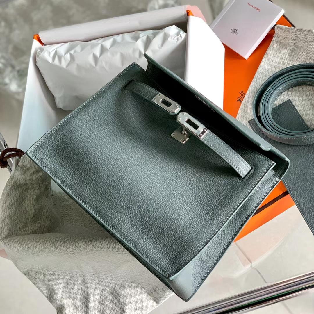 Hermès(爱马仕)Kelly Danse mini 杏仁绿 CC63 Vert Amande 原厂Evercolor皮