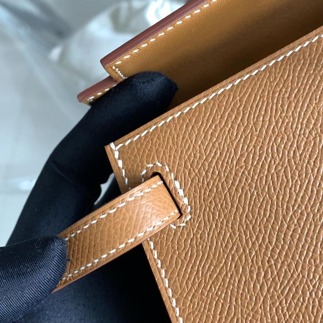 Hermès(爱马仕)迷你凯莉 Minikelly 二代  金棕色 浅咖啡色 金扣 全手缝