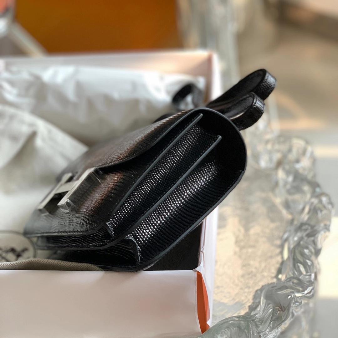 Hermès(爱马仕)Constance 康斯坦斯 黑色 原厂印尼蜥蜴皮 NIOR 银扣 18cm