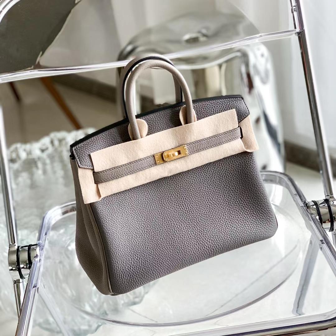 Hermès(爱马仕)Birkin 铂金包 8F锡器灰 拼 M8银河灰 原厂Togo皮 拉丝金扣 25cm