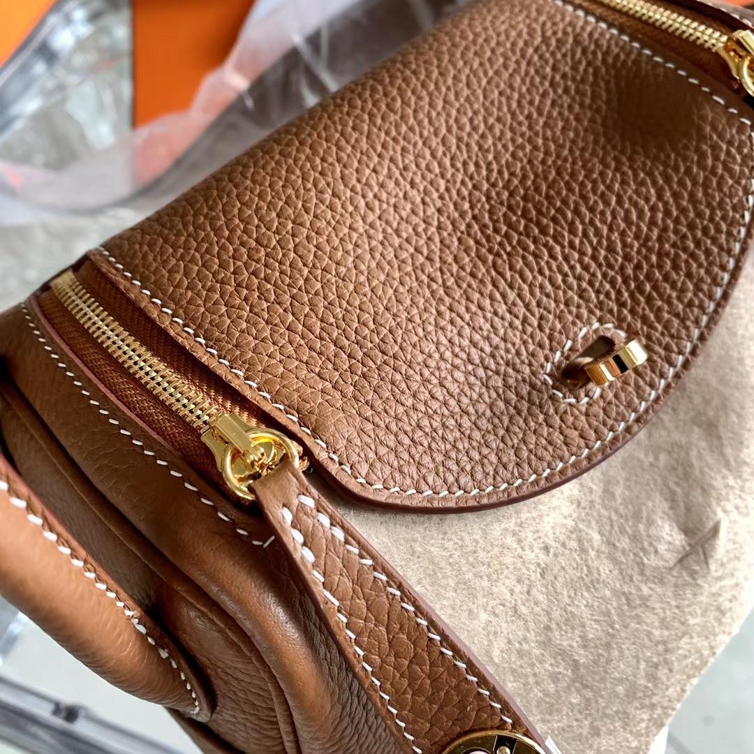 Hermès(爱马仕)Mini lindy 迷你琳迪包 Gold色 金棕色 浅咖啡 原厂TC皮