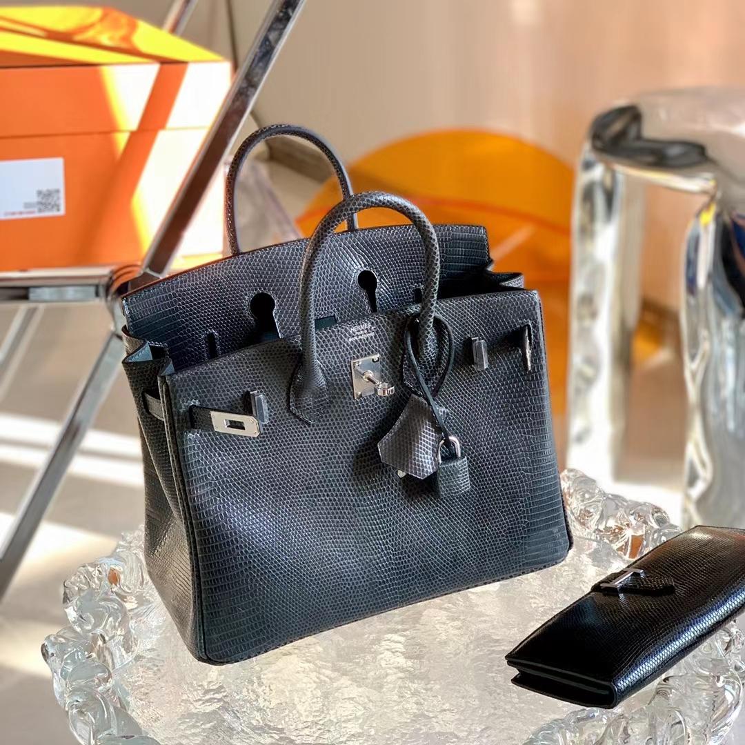 Hermès(爱马仕)Birkin 铂金包 8F 锡器灰 原厂KK印尼蜥蜴皮 25cm 全手缝