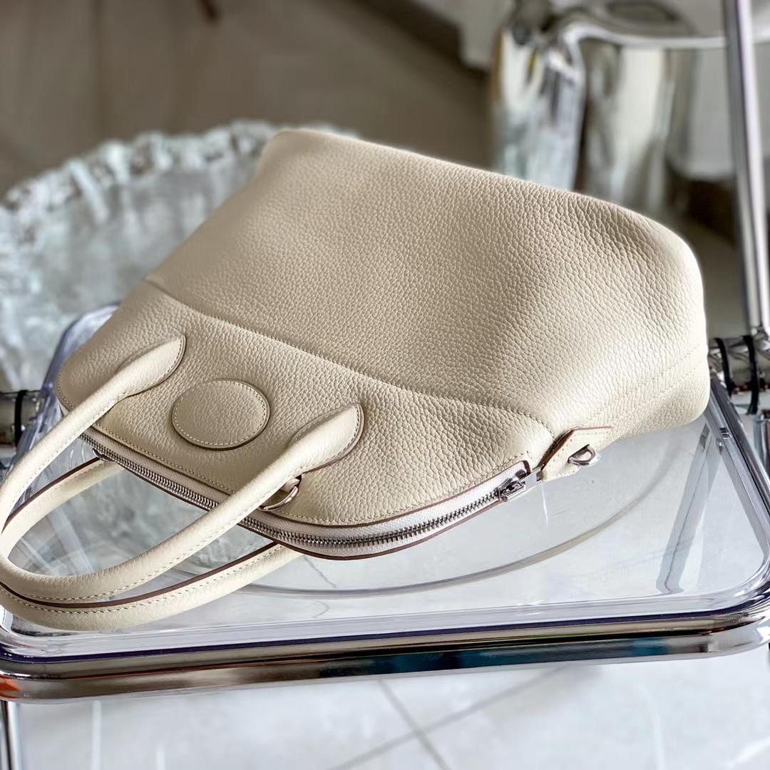 Hermès(爱马仕)Bolide 保龄球包 原厂Tc皮 神色 奶昔白 CC10 全手缝 31cm