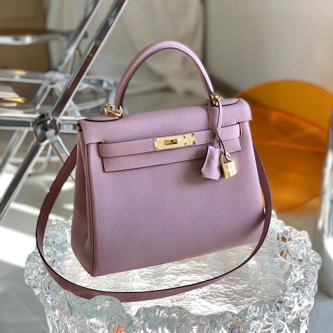 Hermès(爱马仕)Kelly 凯莉包 4W 香芋紫 紫藤色 原厂小纹路TOGO皮 28cm 全手缝