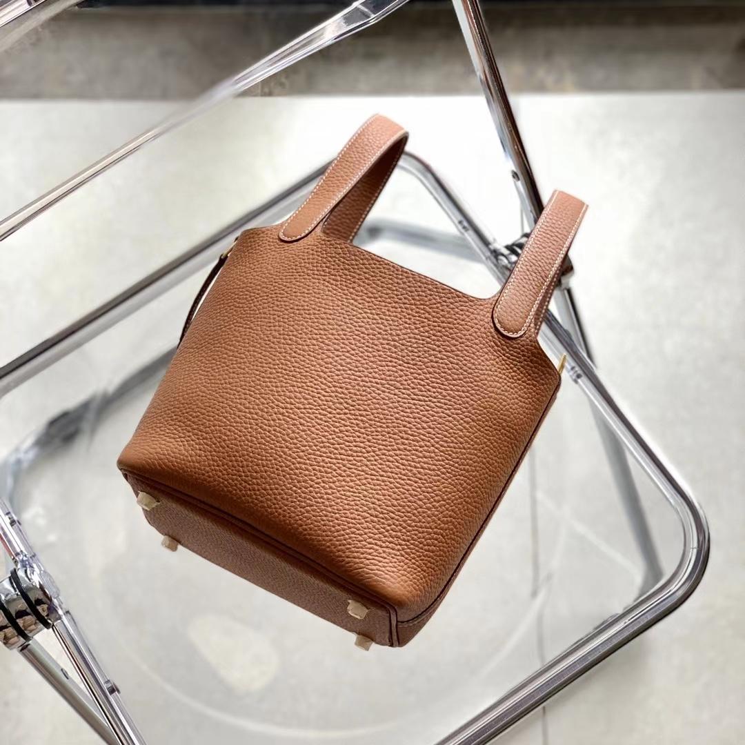 Hermès(爱马仕)Picotin Lock 菜篮子 小牛皮 金棕色 金扣 18cm 全手缝