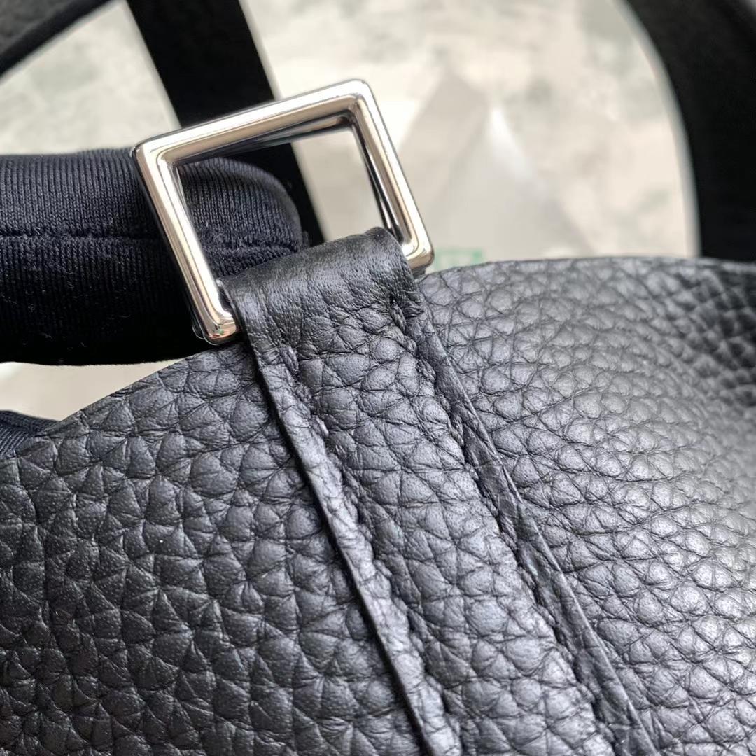 Hermès(爱马仕)Picotin Lock 菜篮子 原厂TC皮 经典 黑色 Nior 银扣 18cm 全手缝