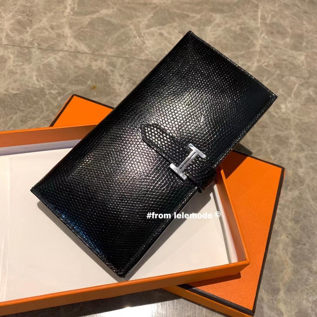 Hermès(爱马仕)H 全手缝 经典 H扣 bearn 蜥蜴皮 钱夹 钱包 黑色 银扣