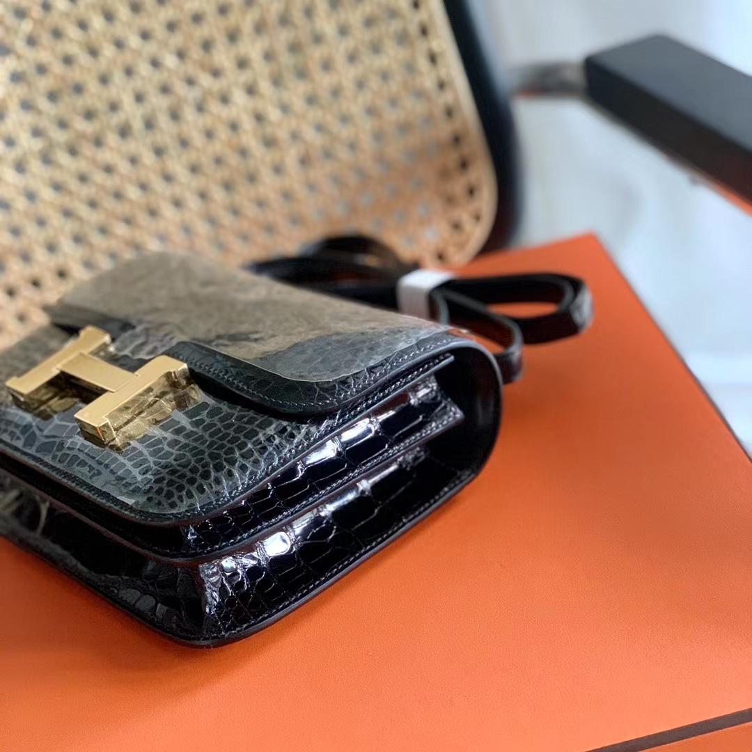 Hermès(爱马仕)Constance 康斯坦斯 原厂HCP鳄鱼皮 超亮 黑色 金扣