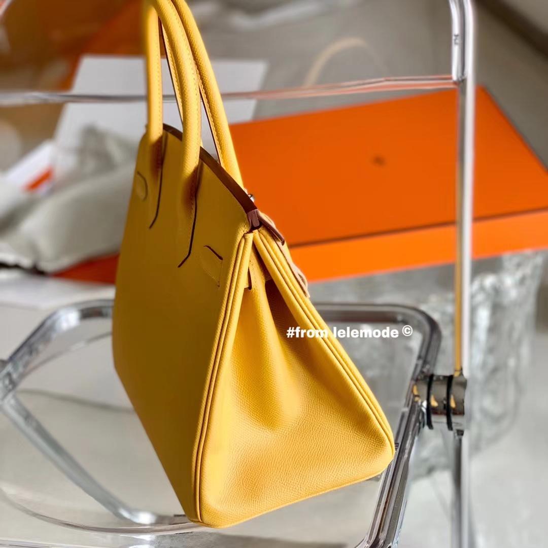 Hermès(爱马仕)Birkin 铂金包 琥珀黄 原厂Epsom皮 色号9D 银扣 30cm 全手缝