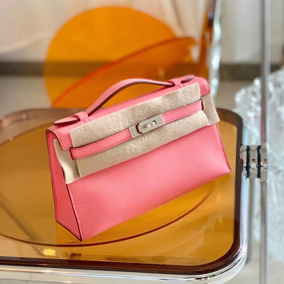 Hermès(爱马仕)Minikelly 迷你凯莉包 新色K4 夏日玫瑰粉 原厂Swift皮 银扣 全手缝