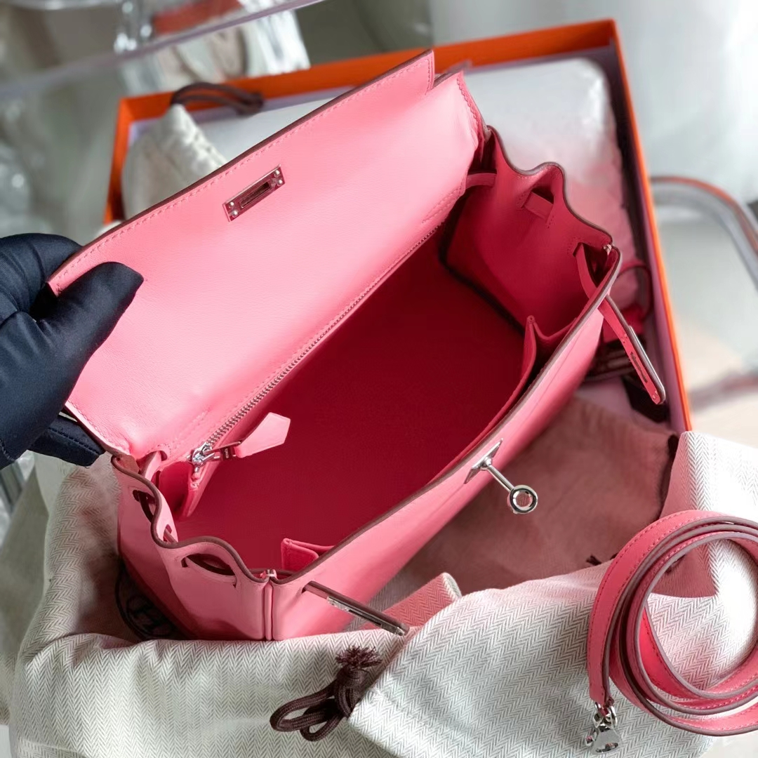 Hermès(爱马仕)KELLY 凯莉包 新色K4 夏日玫瑰粉 原厂Swift皮 银扣 25cm 全手缝