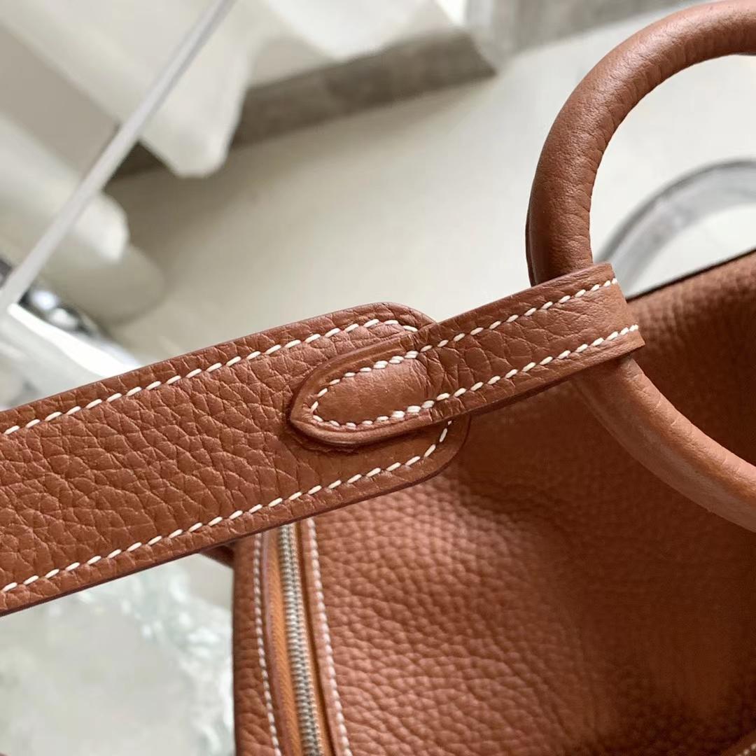 Hermès(爱马仕)Lindy 琳迪包 GoLd色 浅咖啡 银扣 26cm 全手缝