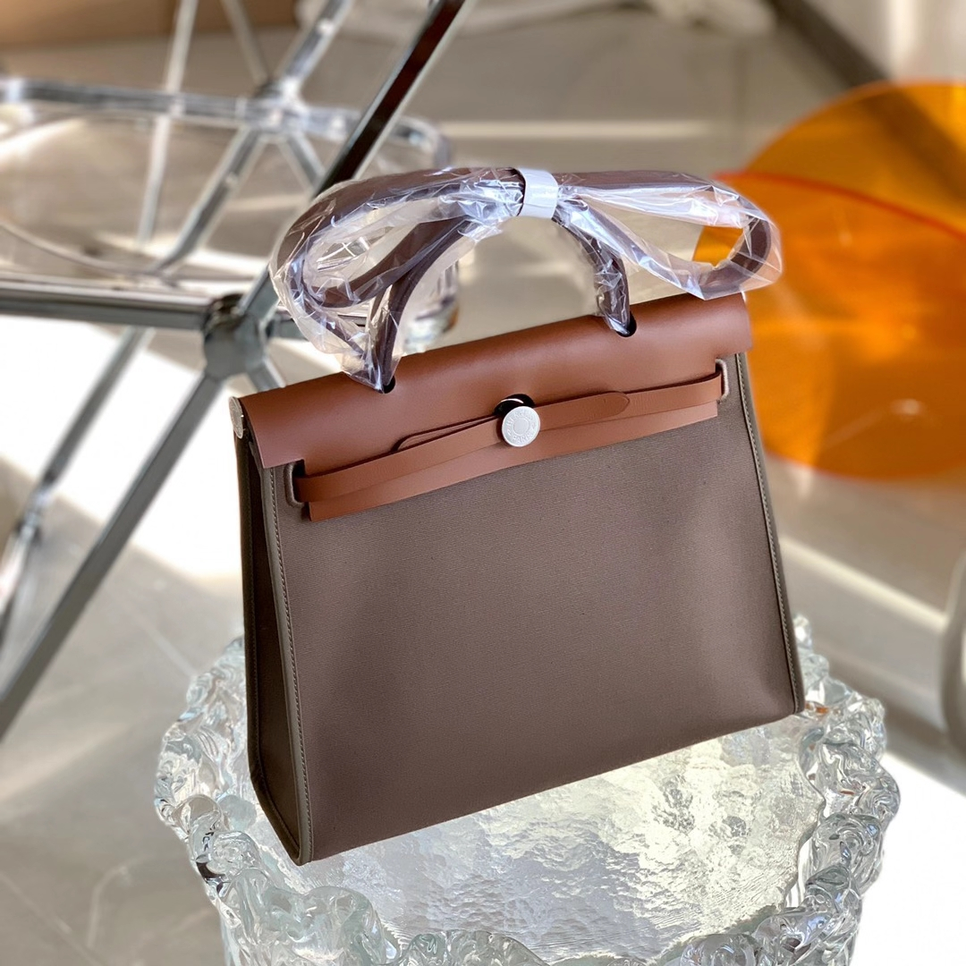 Hermès(爱马仕)Herbag 大象灰拼金棕色 拼色帆布包 凯莉包 OL包31cm