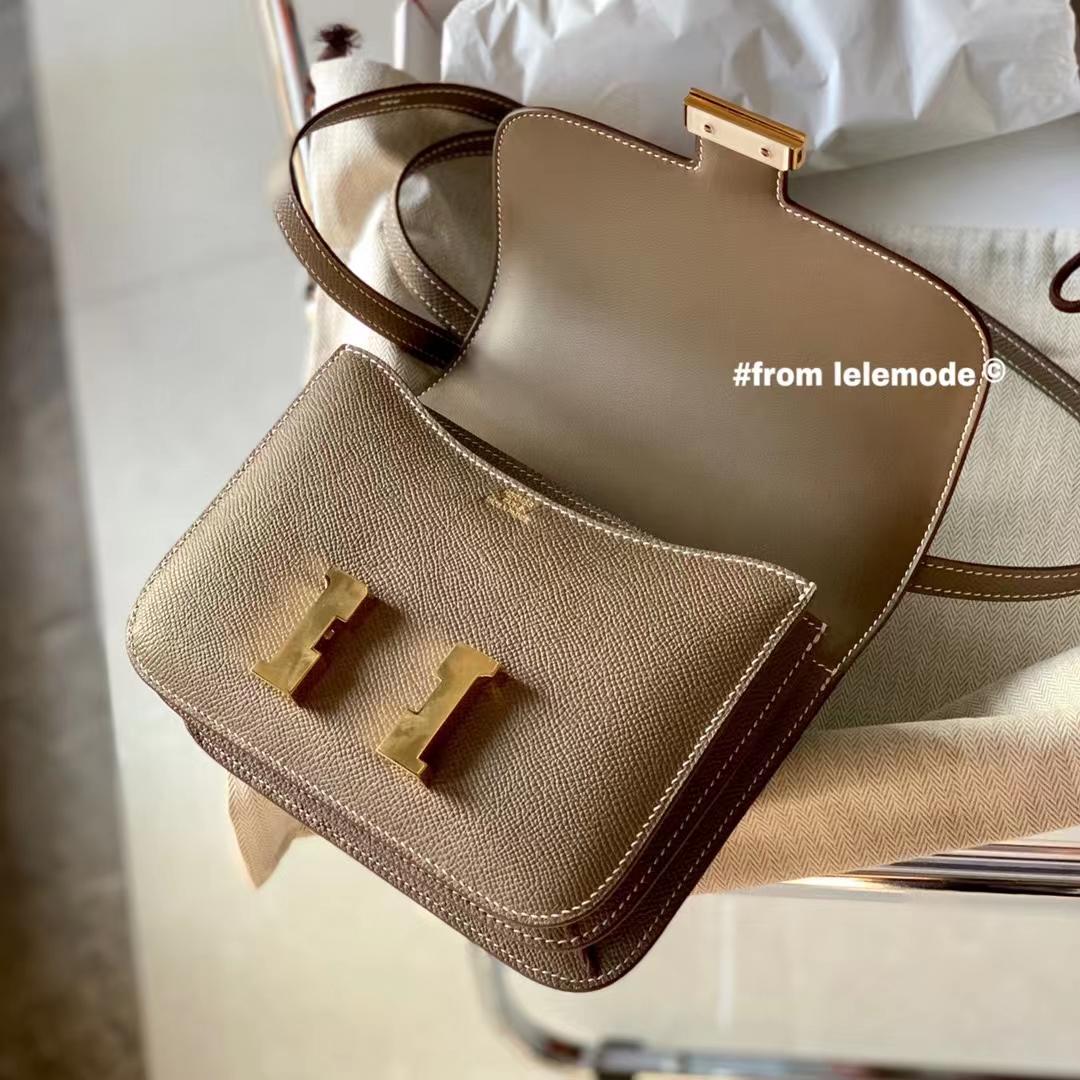 Hermès(爱马仕)Constance 康斯坦斯 大象灰 CK18 原厂Epsom皮 金扣 18cm