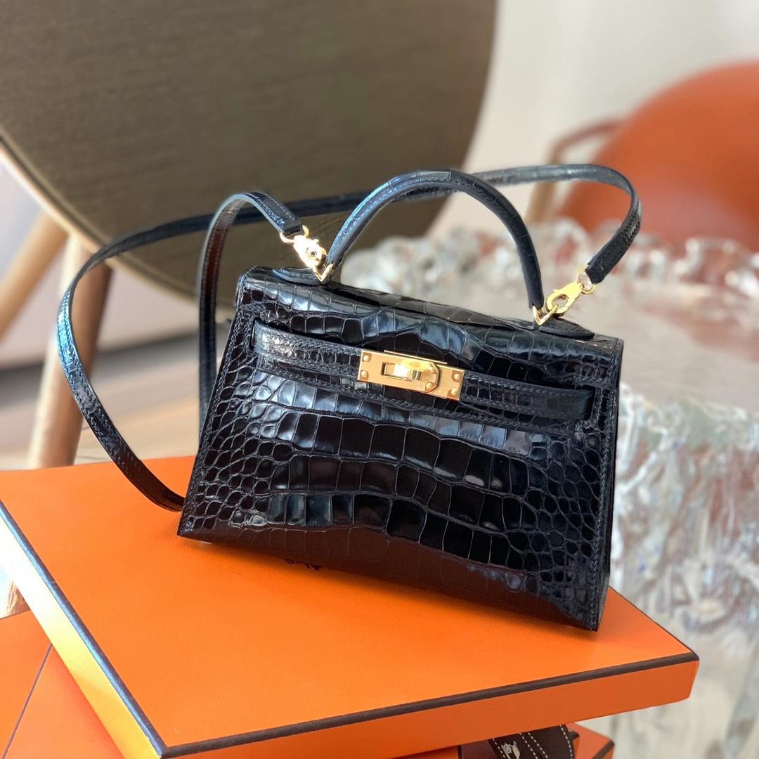 Hermès(爱马仕)Minikelly 迷你凯莉 HCP 美洲亮面鳄鱼皮 黑色 Nior 金扣 二代