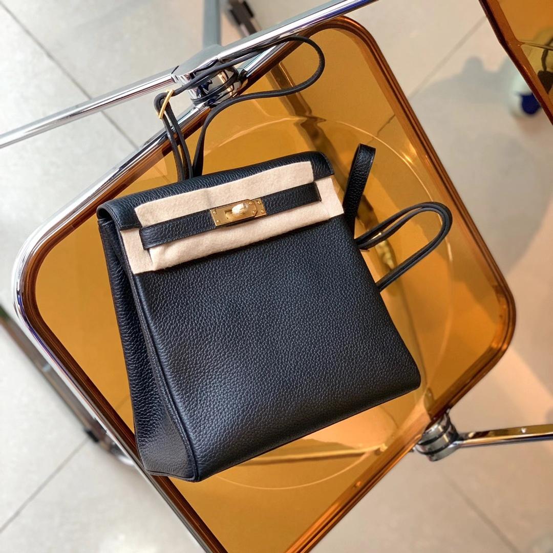 Hermès(爱马仕)Kelly Ado 凯莉双肩包 背包 黑色 金扣 原厂TC皮 全手缝