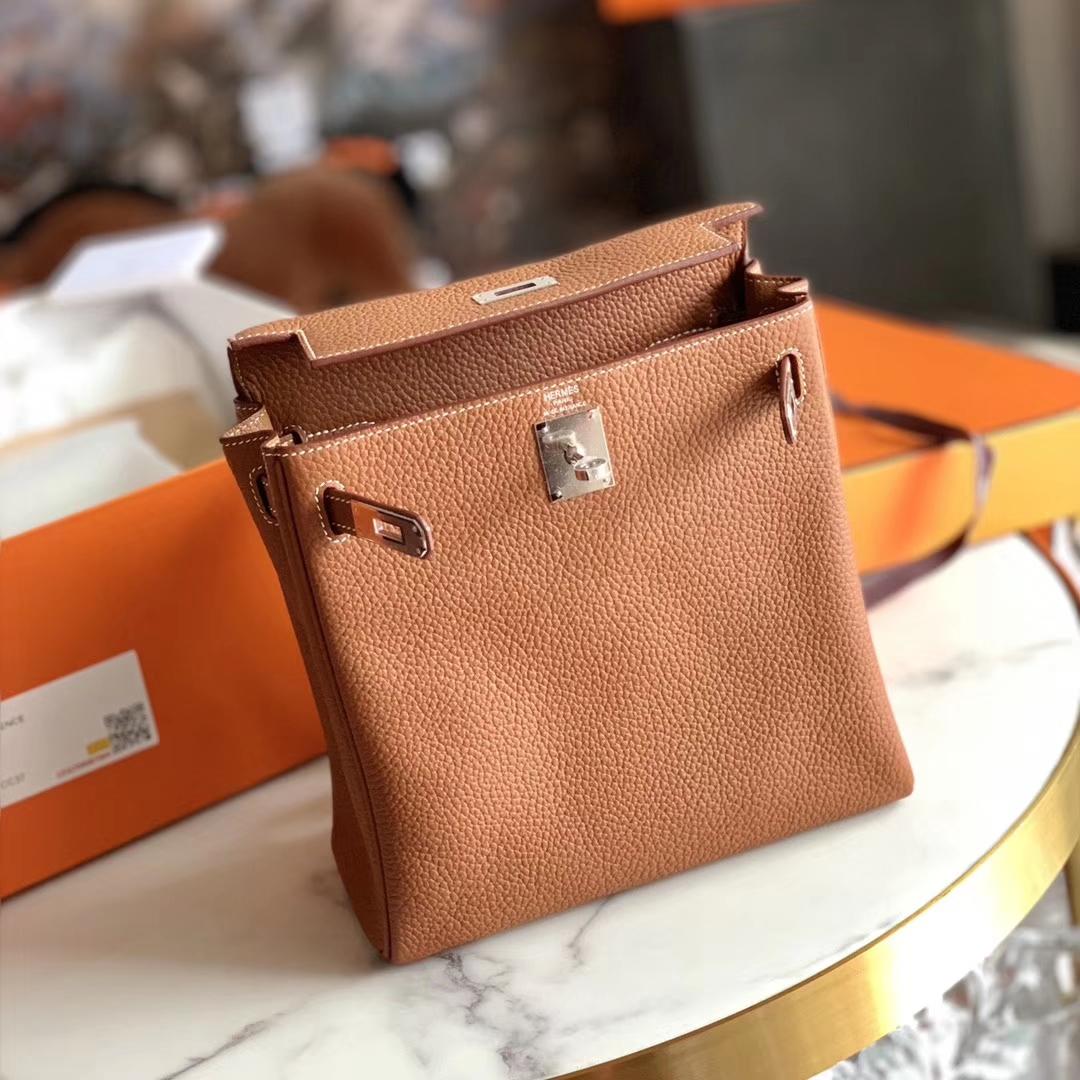 Hermès(爱马仕)Kelly Ado 凯莉双肩包 背包 GOLD色 浅咖啡 金扣 原厂TC皮 全手缝