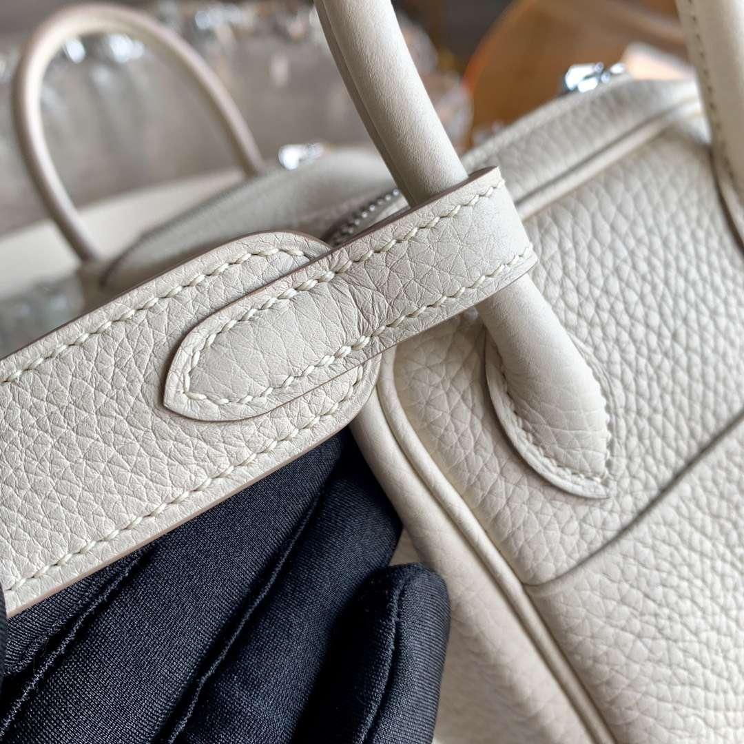 Hermès(爱马仕)Minilindy 迷你琳迪包 奶昔白 cc10 原厂TC皮 银扣 20cm