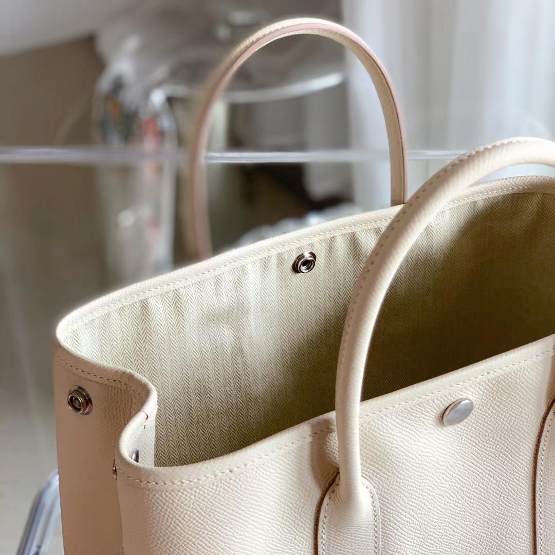 Hermès(爱马仕)Garden Party 花园包 原厂EPSOM 奶昔白 30cm