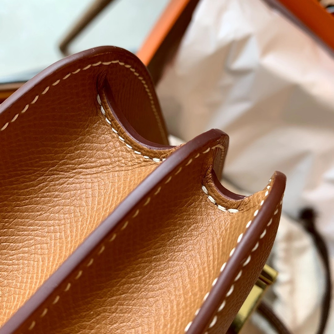 Hermès(爱马仕)Constance 康斯坦斯 浅咖啡 GOLD色 金棕色 原厂Epsom皮 金扣 18cm