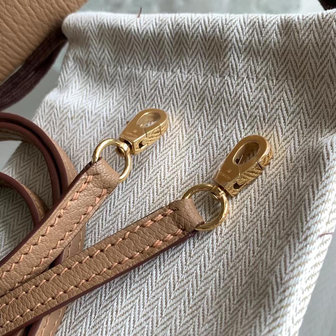 Hermès(爱马仕)Bolide mini 迷你保龄球包 新色 2J 雀木色 奶茶栗子色 金扣
