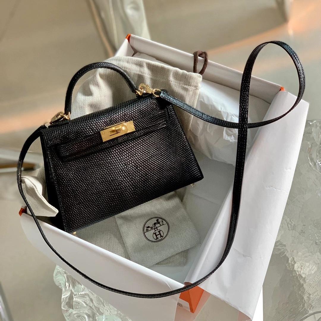 Hermès(爱马仕)Minikelly 迷你凯莉 蜥蜴皮 黑色 Nior 金扣 二代 全手缝