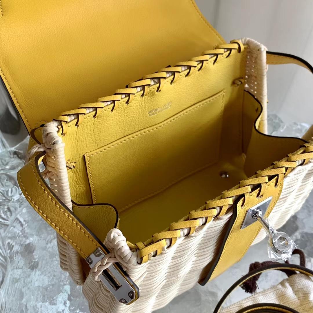 Hermès(爱马仕)Kelly Pcinic 野餐包 竹编 凯莉包 9O 那不勒斯黄 Swift皮 20cm