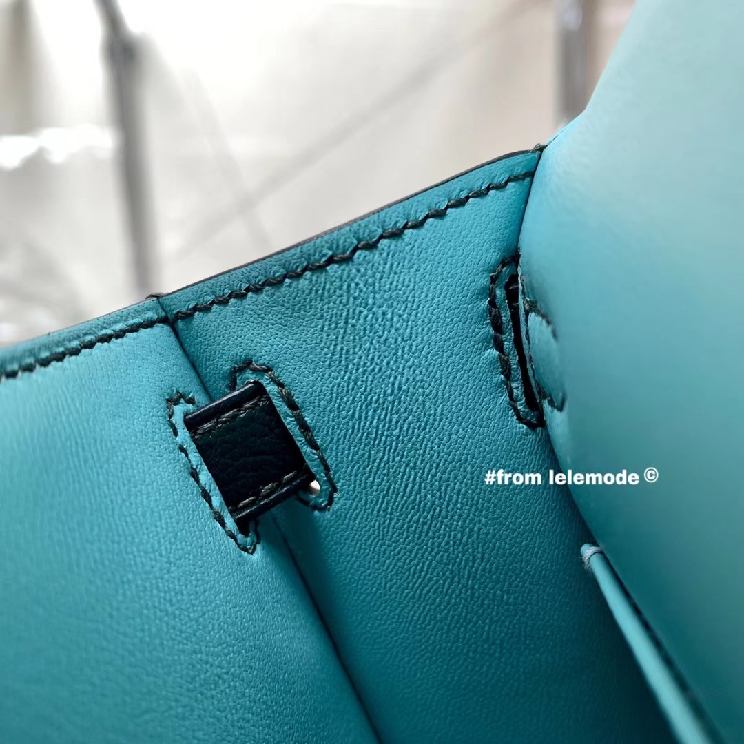 Hermès(爱马仕)Minikelly 迷你凯莉 1T提香绿 内拼 3P马卡龙蓝 山羊皮 二代 全手缝