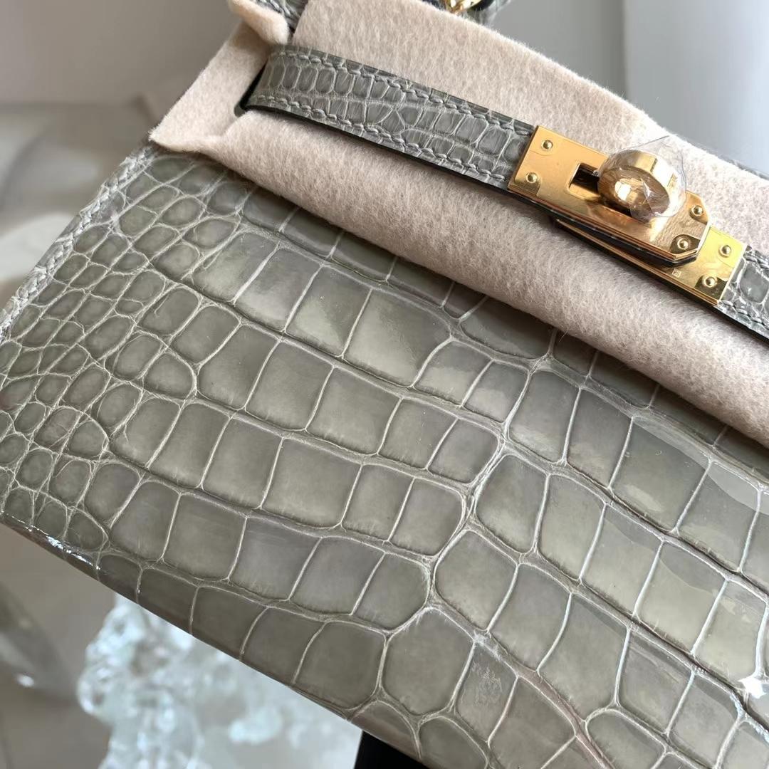 Hermès(爱马仕)Minikelly 迷你凯莉 斑鸠灰 CC81 原厂亮面美洲鳄鱼 2代 金扣