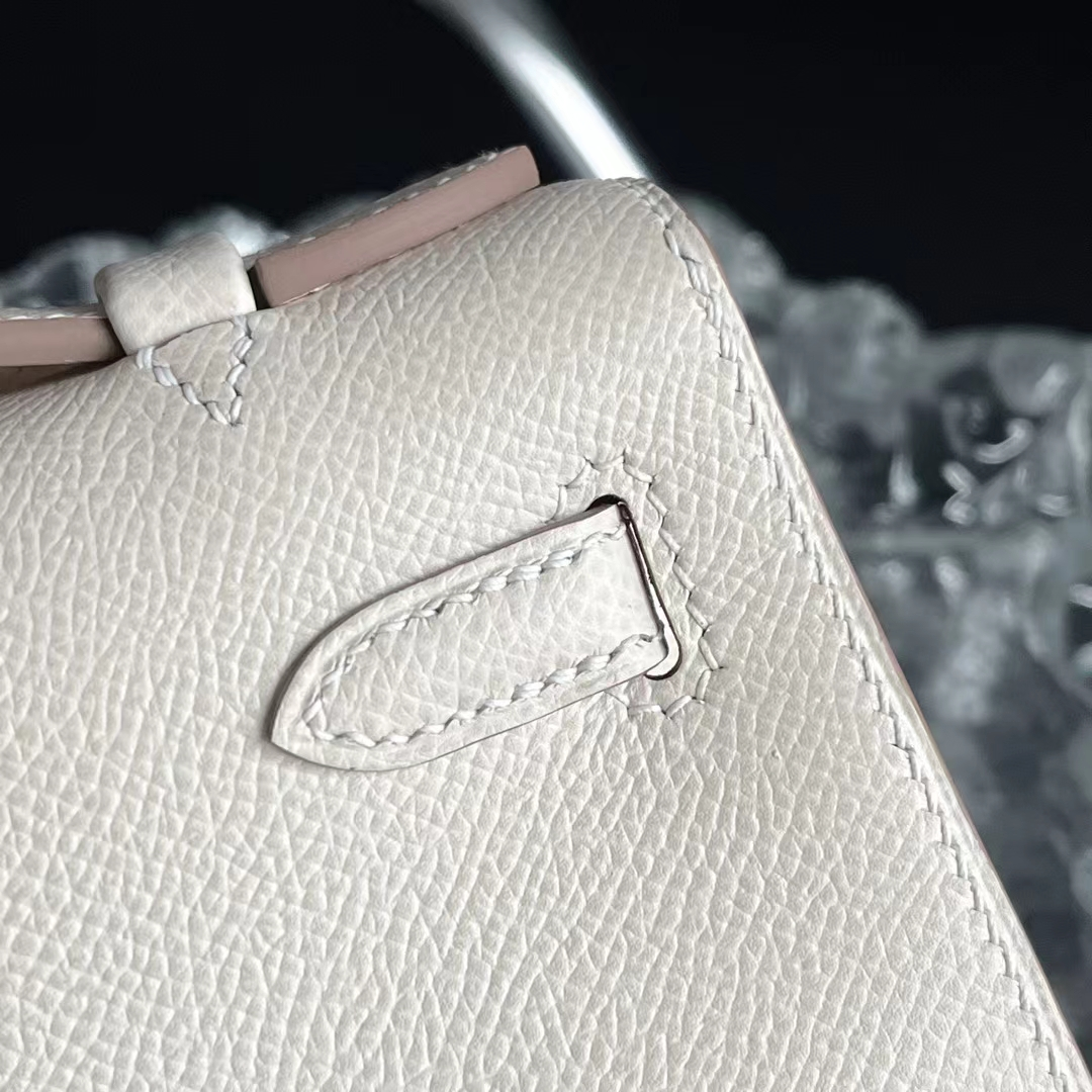 Hermès(爱马仕)Minikelly 迷你凯莉 奶昔白 CC10 Epsom皮 银扣 全手缝