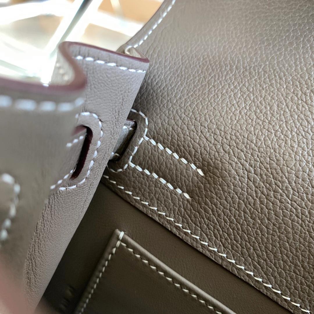 Hermès(爱马仕)Kelly Danse mini 跳舞包 大象灰 CK18 原厂Evercolor皮 新版五金 银扣