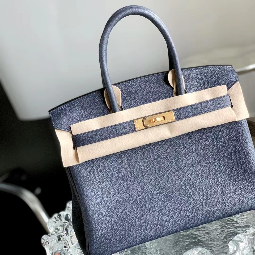 Hermès(爱马仕)Birkin 铂金包 午夜蓝 2Z 金扣 30cm 全手缝