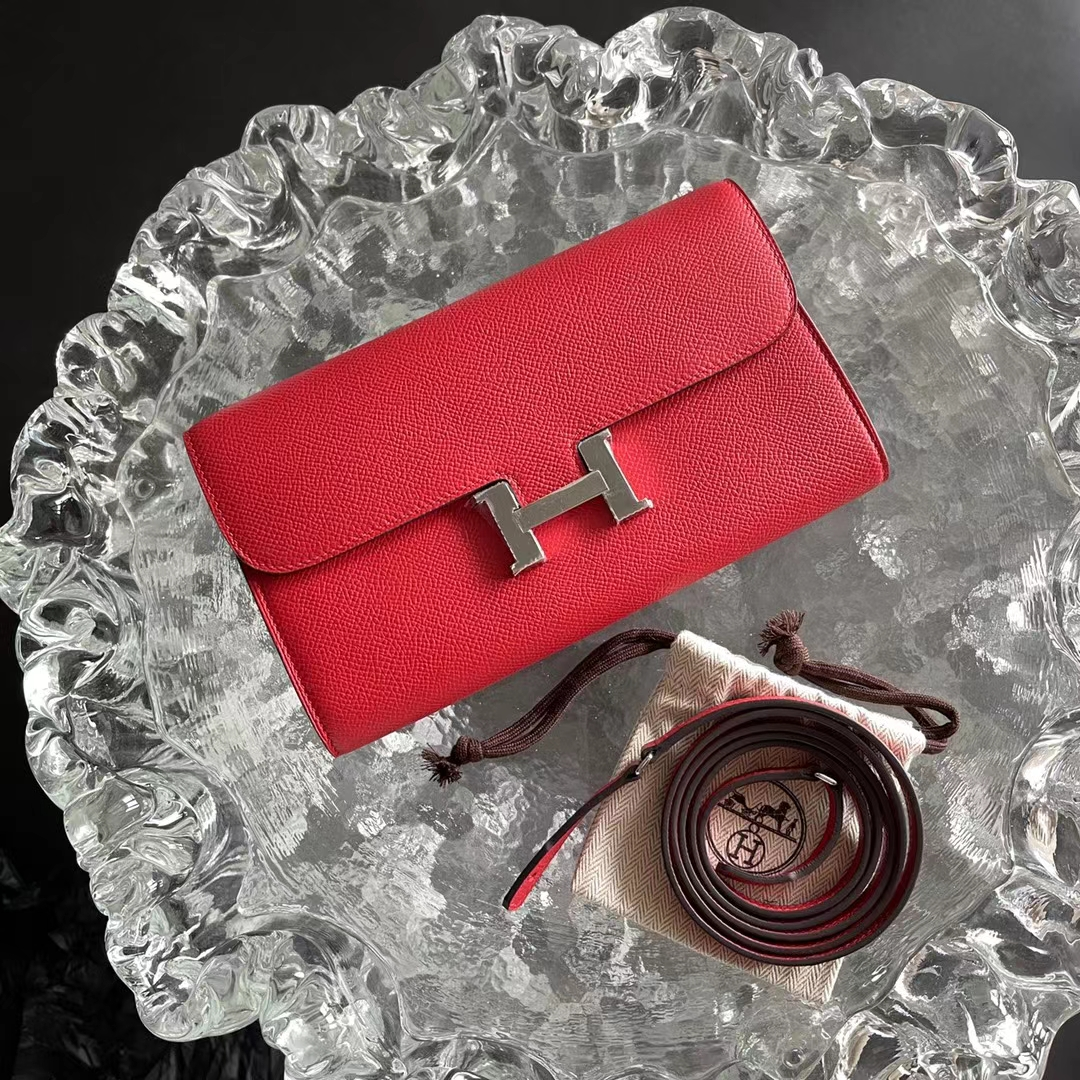Hermès(爱马仕)小康 To Go Woc包 原厂Epsom皮 中国红 Q5 手包 小挎包