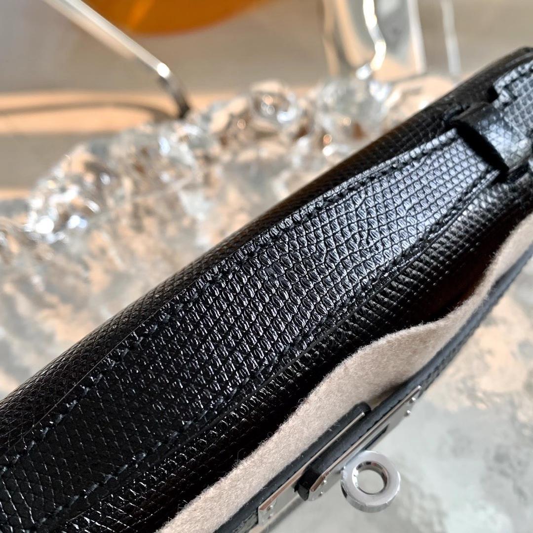 Hermès(爱马仕)Minikelly 迷你凯莉 蜥蜴皮 黑色 Nior 银扣 全手缝