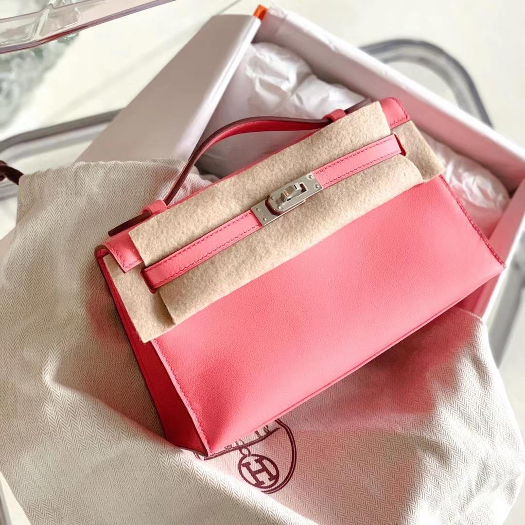 Hermès(爱马仕)Minikelly 迷你凯莉 新色 K4 夏日玫瑰粉 原厂Swift皮 银扣 全手缝